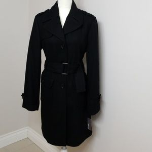 Kenneth Cole Reaction Black Trench Coat. Womens 12